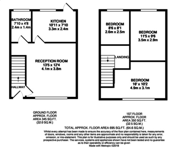 Floorplan for Paston Crescent, Lee